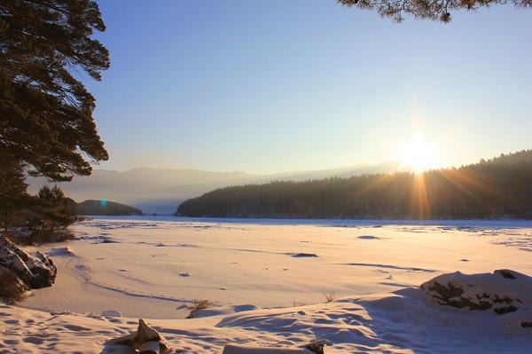 Туркомплекс Манжерок,Вид на Катунь зимой