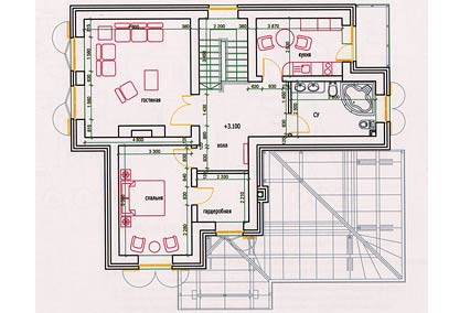 Коттедж. План 2 этажа